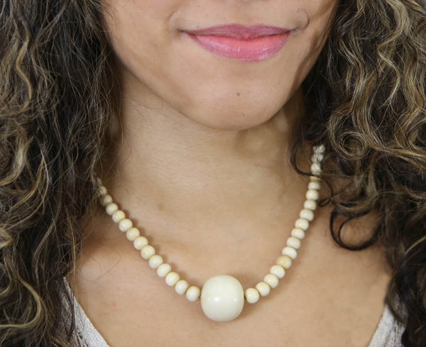 Woolly Mammoth Ivory Bead Necklace - 18""