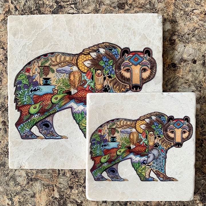 Grizzly Marble Trivet or Coaster by Sue Coccia