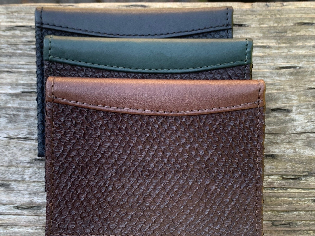 Deluxe Money Clip Wallet - Brown Salmon Leather