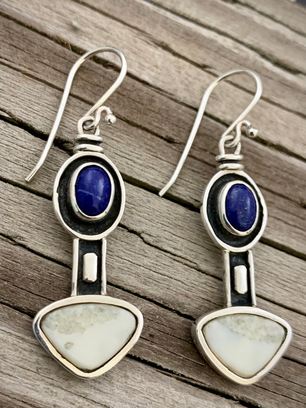 Walrus Ivory with Lapis Earrings
