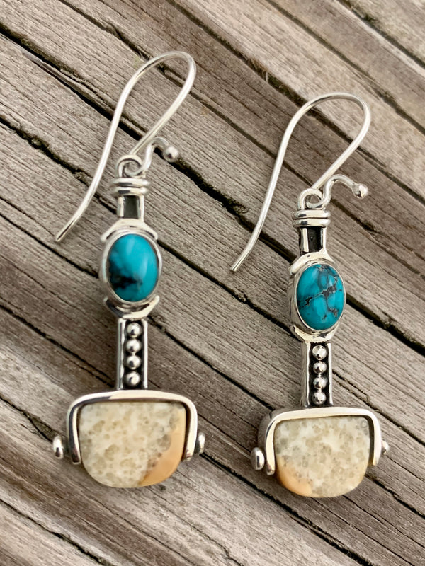 Walrus Ivory with Turquoise Earrings
