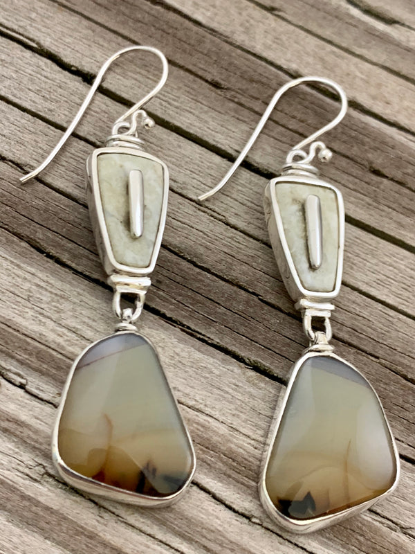 Walrus Ivory with Jasper Earrings