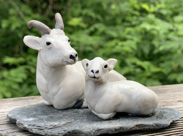 Doll Sheep Ram with lamb