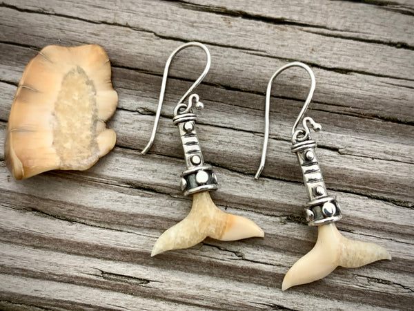 Walrus Ivory Whale Tail Earrings