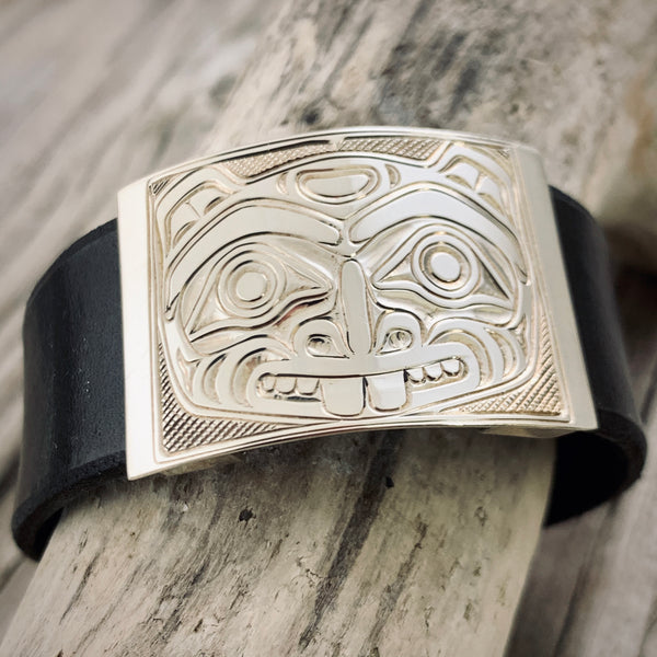 Beaver Silver-Leather Bracelet - Small