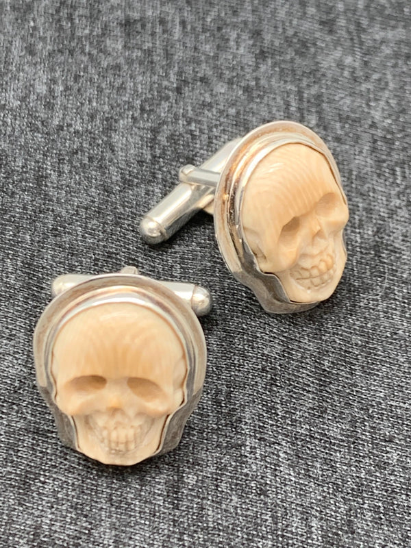 Mammoth Ivory Cuff Links - Skull