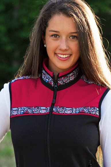 Women's Kodiak Vest Black & True Red Custom Native (Totem) trim