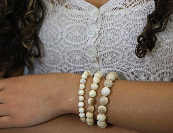 Mammoth Ivory Bead Bracelet 6-12mm