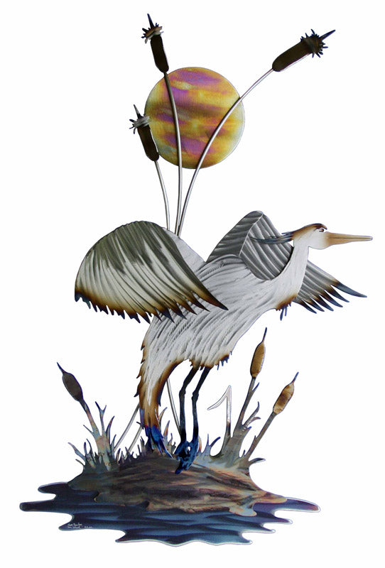 Movin On Heron (Silver) Steel Art