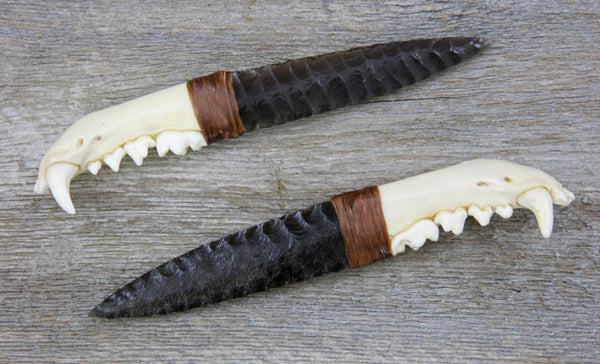 Badger Jawbone Obsidian Knife