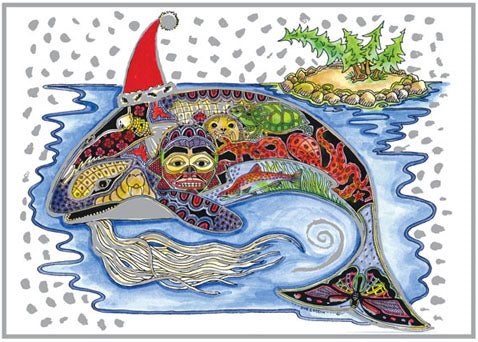 Orca Holiday Card by Sue Coccia