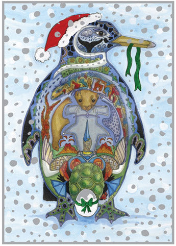 Penguin Holiday Card by Sue Coccia