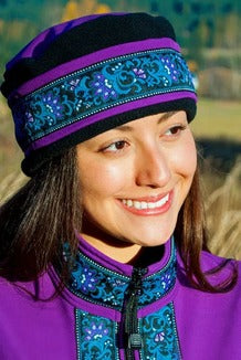 AURORA HAT Razzlberry, Black, Wild Geranium (trim)