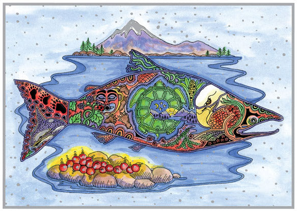 Salmon Holiday Card by Sue Coccia