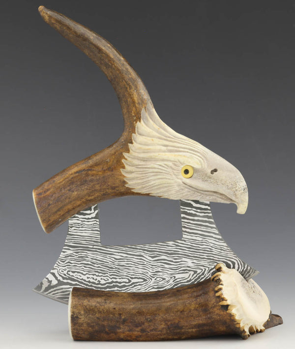 Caribou Eagle Carving with Tine & Damascus
