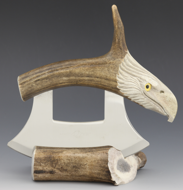 Caribou Antler Eagle Carving with Tine Ulu