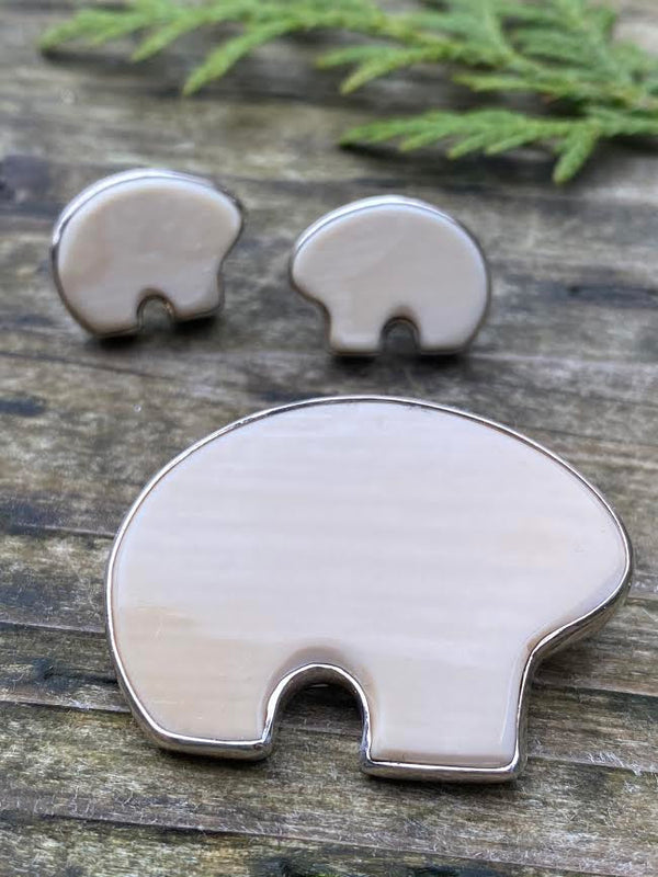 Mammoth Ivory Bear Pin/ Pendant Set