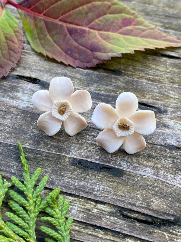 Ivory Forget-Me-Not Earrings w/ Gold Nuggets