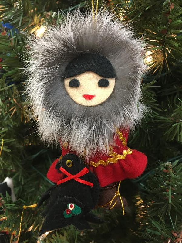 Eskimo Girl with Raven Ornament