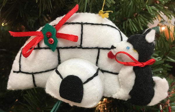 Sled Dog with Igloo Ornament