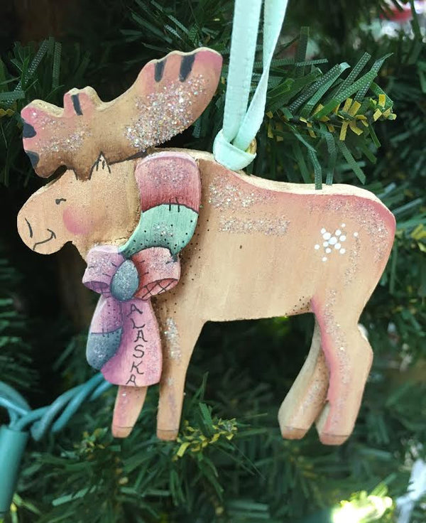 Moose with Bow Ornament