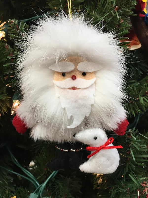 Santa with Bear Ornament