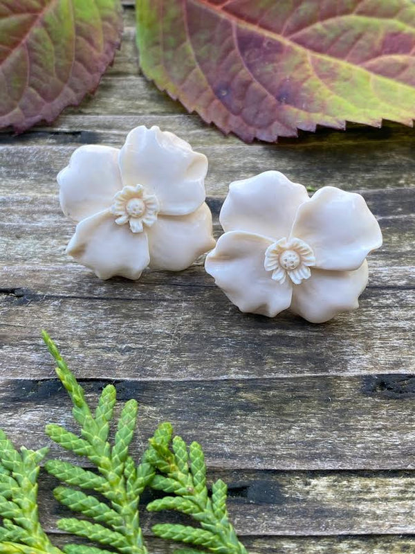 Mammoth Ivory Sitka Rose Earrings