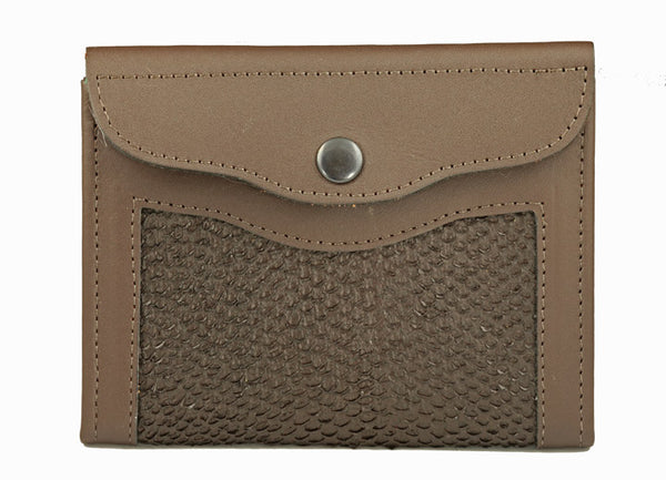 Passport Wallet- Brown Alaska Salmon Leather