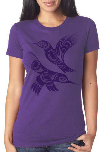 Womens TShirt -Hummingbird Purple