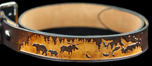Alaska Leather Belt - Wildlife