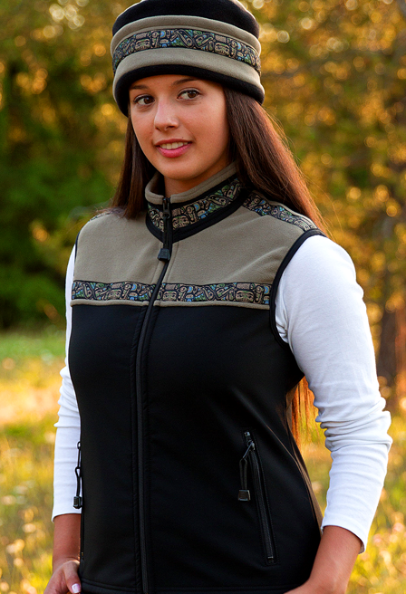 Women's Kodiak Vest Cappuccino, Custom Native Trim