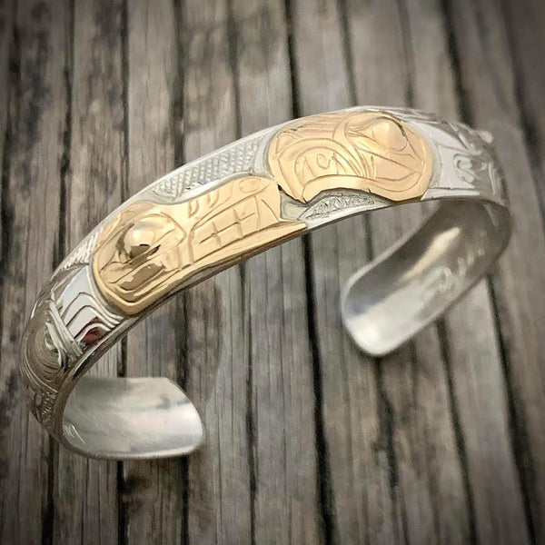 "Eagle Wolf Gold Overlay 6"" Bracelet by Gene Chilton"