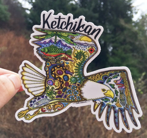 Ketchikan Bald Eagle Sticker by Sue Coccia