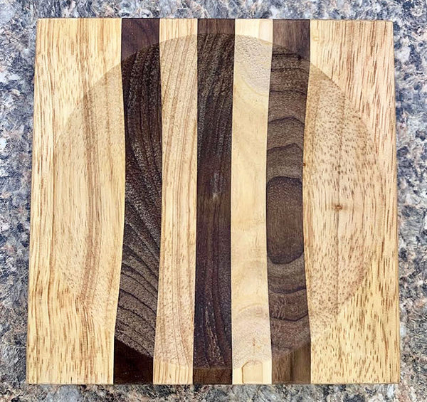 "8"" Walnut Stripe Ulu Cutting Board - Bowl"