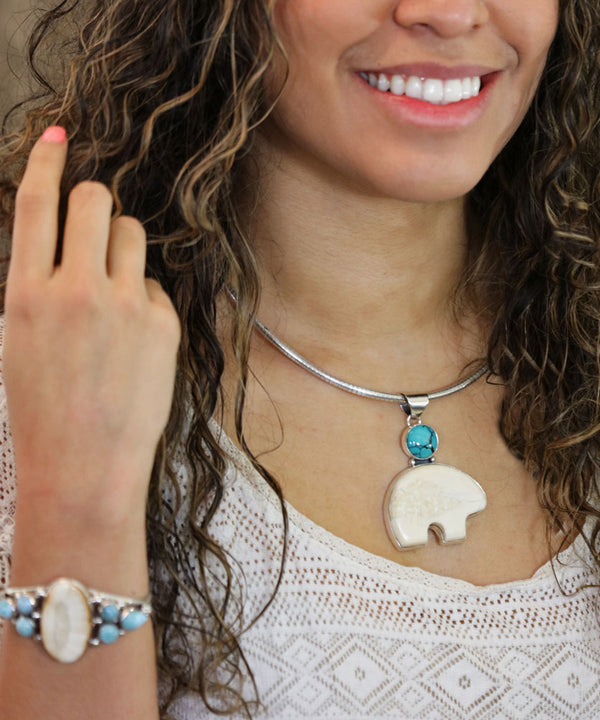 Walrus Ivory Bear with Turquoise Pendant