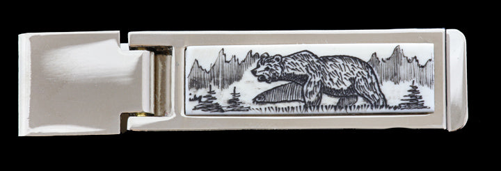 Scrimshaw Hinged Rectangle Money Clip- Bear