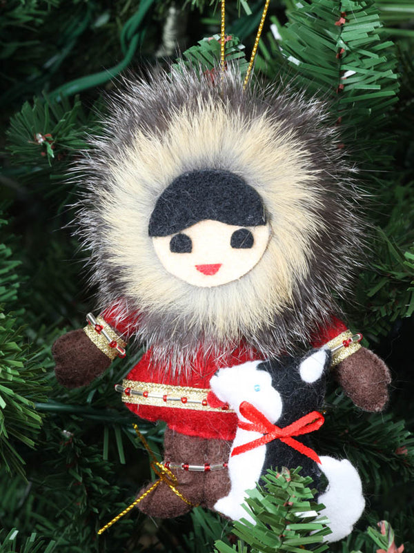 Eskimo Boy with Dog Ornament