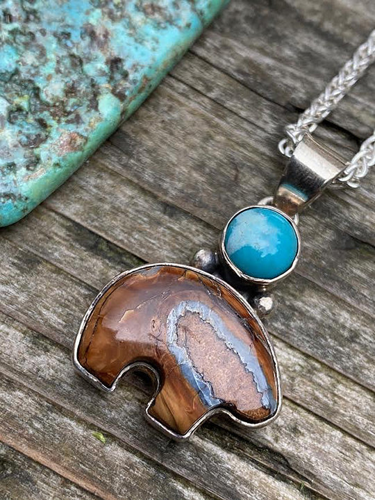 Mammoth Tooth Bear Pendant w/ Turquoise