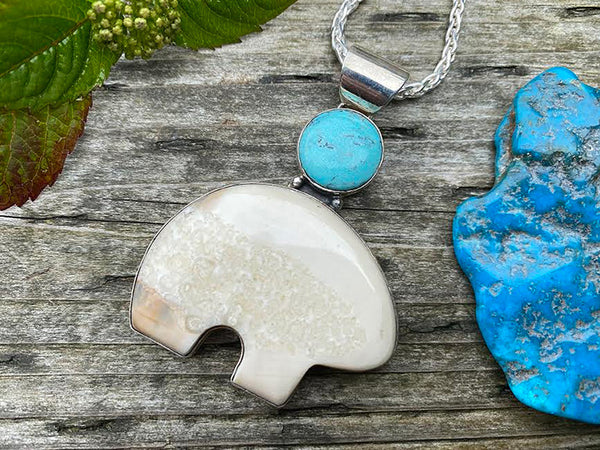 Walrus Ivory Bear Pendant with Turquoise
