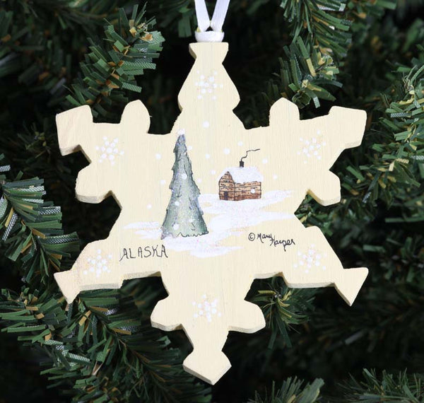 Snowflake with Cabin and Tree Ornament
