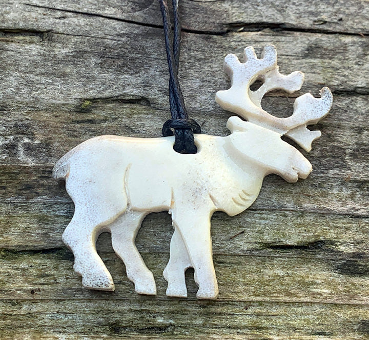 Moose Antler Carved Necklace - Caribou