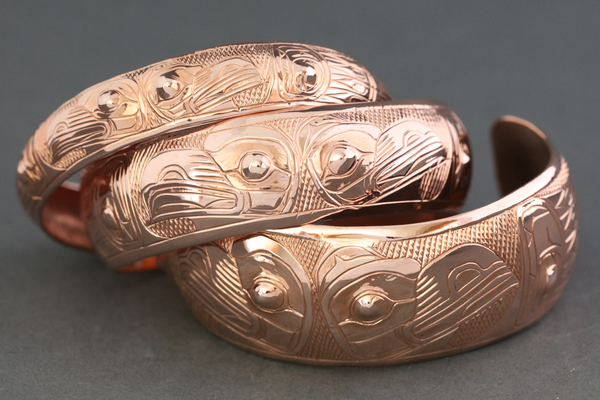 "Spread Wing Lovebirds 6"" Copper Bracelet by Chilton"