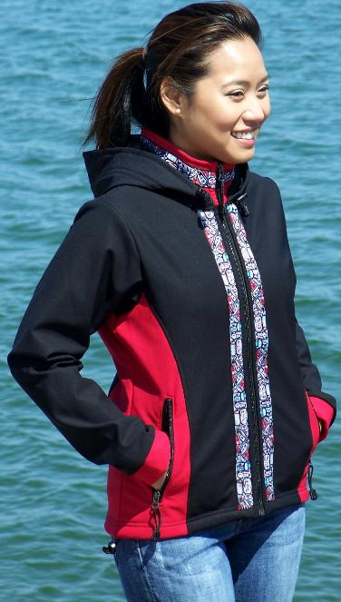 Arctic Women's Jacket Black & Ruby Softshell, Native Trim