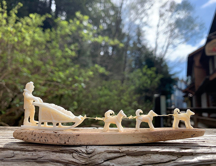 Walrus Ivory Carving- Dogsled