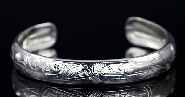 "Eagle & Orca Silver Bracelet 1/2"" X 6""  by Chilton"