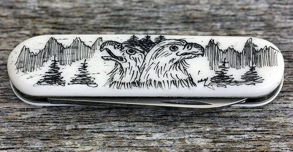 Scrimshaw Swiss Army Pocket Knife Small-Eagle