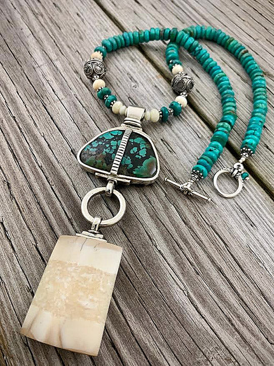 Walrus Ivory w/ Turquoise Necklace