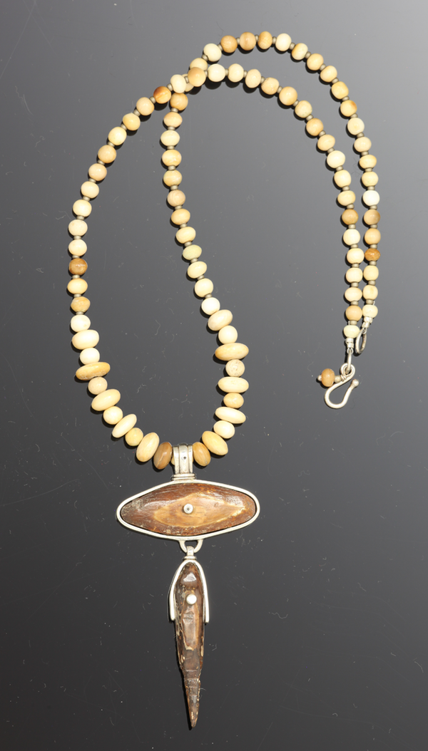 Beaded Necklace with Walrus Ivory Pendant - 18""