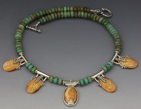 Walrus Ivory Necklace with Turquoise - 18