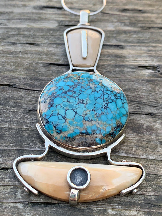 Walrus Ivory and Turquoise Pendant